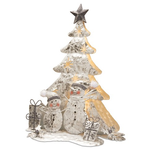 16 novelty silhouette lights white wire both sided christmas tree with snowmen