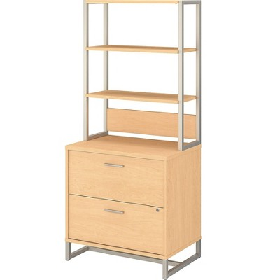 Office by kathy ireland 2-Drawer Lateral File Cabinet w/Hutch Locking Letter/Legal Maple MTH012ACSU