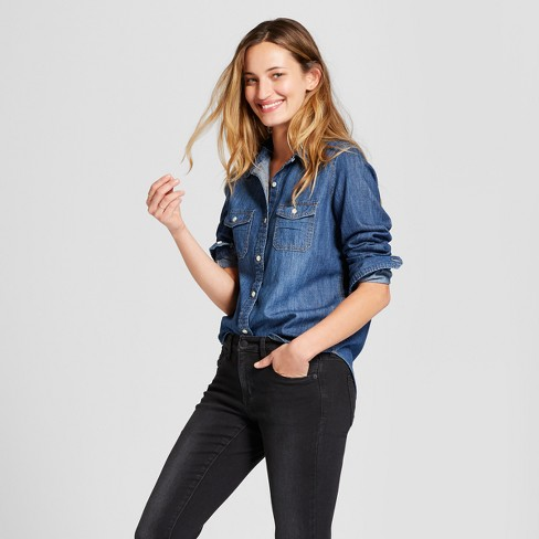 Women's Labette Denim Shirt Long Sleeve Button-Down Shirt - Universal Thread™ Dark Wash - image 1 of 3