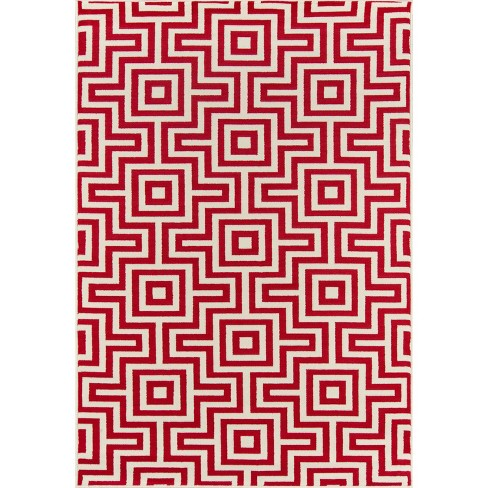 4'X6' Geometric Woven Accent Rug Red - Momeni - image 1 of 4