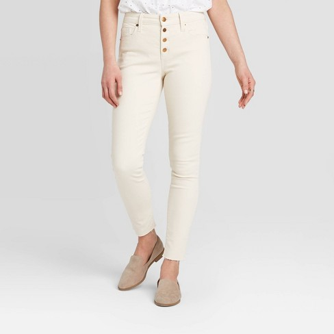 Women's High-Rise Skinny Casual Fit Ankle Jeans - Universal Thread™ Ecru - image 1 of 4