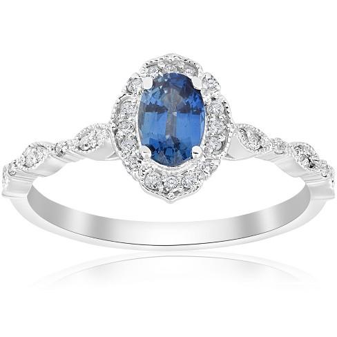 Pompeii3 3/4ct Oval Blue Sapphire Diamond Halo Vintage Engagement Ring 14K White Gold - image 1 of 4