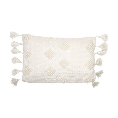 White Hand Woven 14 x 22 inch Outdoor Decorative Throw Pillow Cover With Insert and Hand Tied Tassels - Foreside Home & Garden