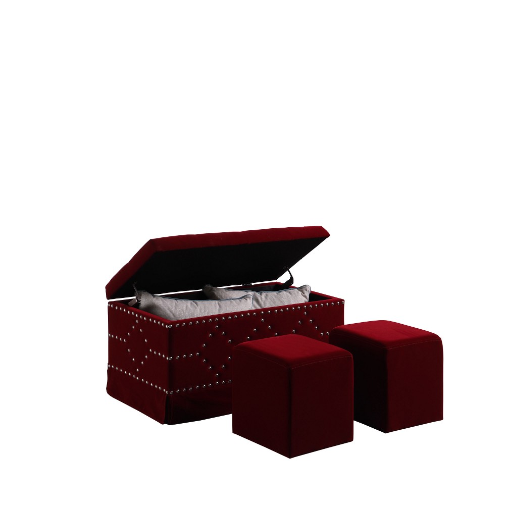 Ore International 2 Seating Nailhead Storage Bench Red
