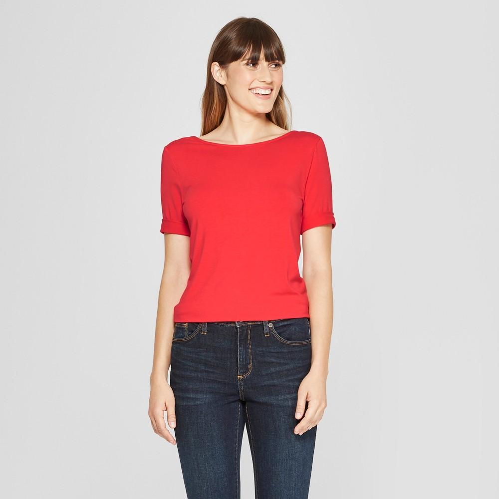 Women's 3/4 Sleeve Ballet-Back T-Shirt - A New Day Light Red L
