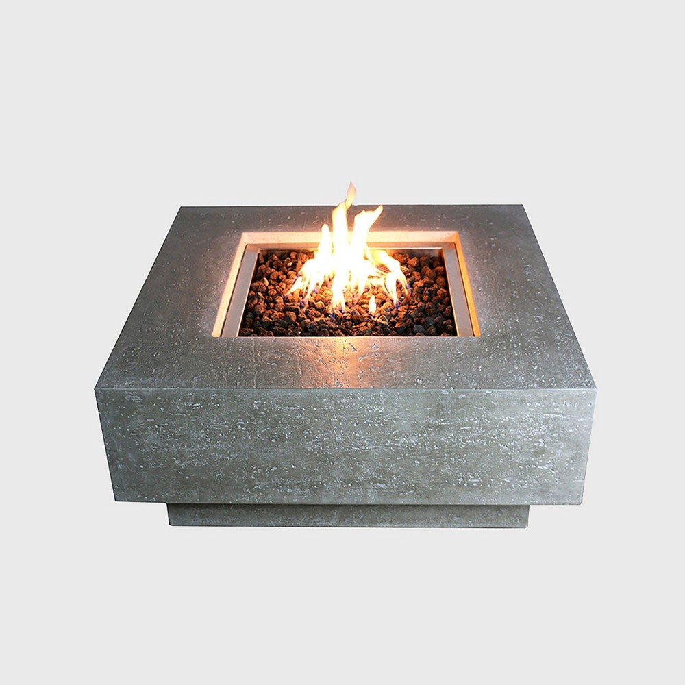 Image of Manhattan Square Glass Concrete Propane Fire Table - Silver Gray - Elementi
