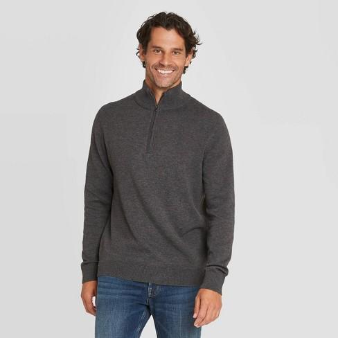 Men's Regular Fit 14 Zip Pullover Sweater Goodfellow & Co™ Gray S