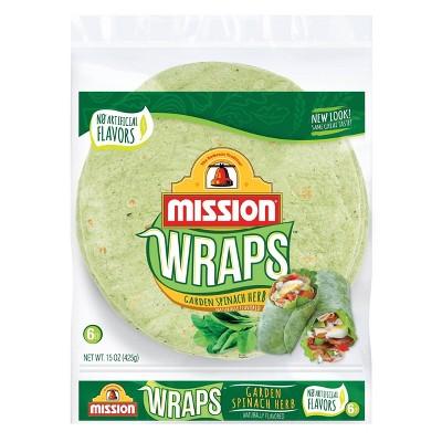 Mission Large Garden Spinach & Herb Wrap Tortillas - 15oz/6ct