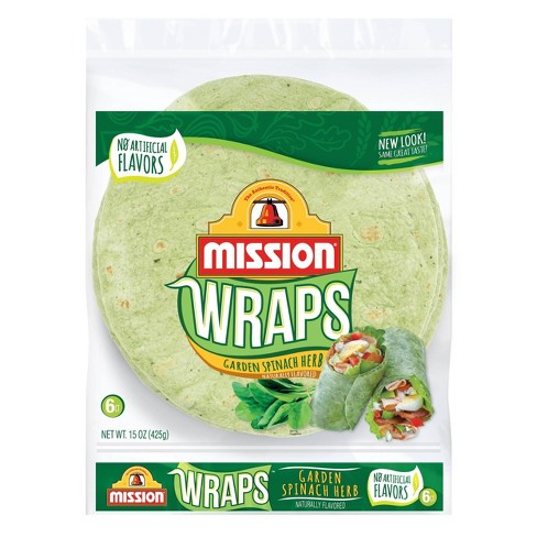 Mission Large Garden Spinach & Herb Wrap Tortillas - 15oz/6ct - image 1 of 3
