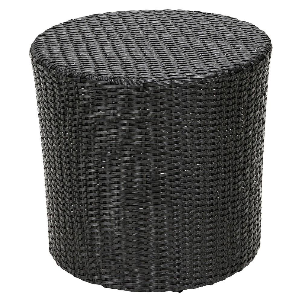 Keaton Wicker Barrel Side Table - Black- Christopher Knight Home, Black