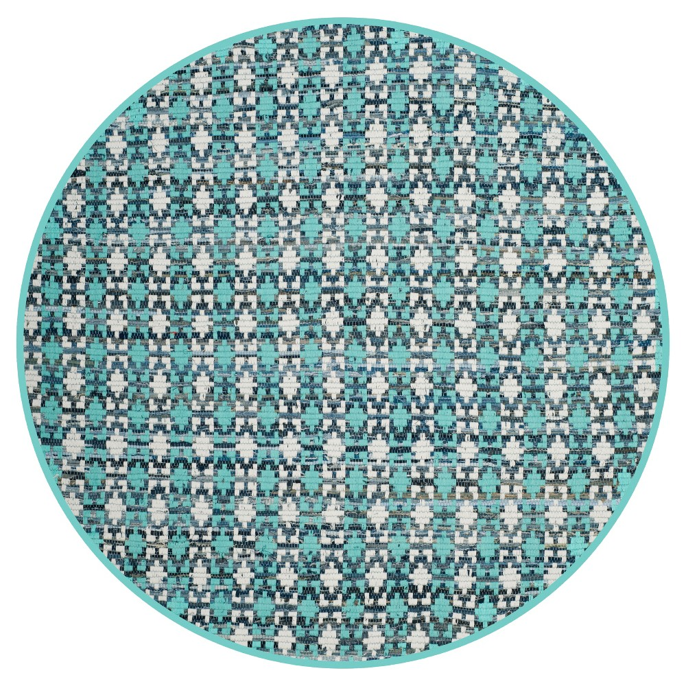 Shapes Flatweave Woven Round Accent Rug 4' - Safavieh, Turquoise/Multicolor