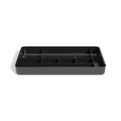 TRU RED 9-Compartment Expandable Plastic Drawer Organizer, Black TR58206