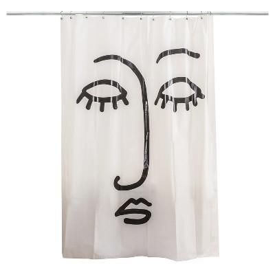 Face Shower Curtain Black/White - Room Essentials™