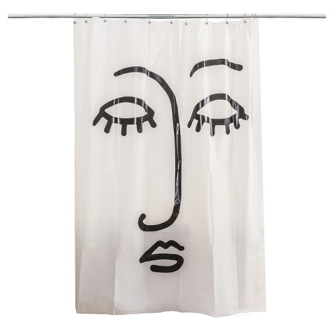 Face Shower Curtain Black White