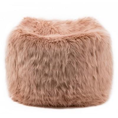 """18"""" Faux Fur Square Pouf Ottoman Pink - WOVENBYRD"""