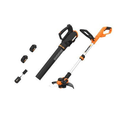 Worx WG929 POWER SHARE 20V Cordless 12 in String Trimmer and Leaf Blower Combo Kit (2 Tool) with 2 Batteries & Dual Charger