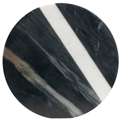 Round Black Marble with White Marble Inlay Kitchen Trivet - Foreside Home & Garden