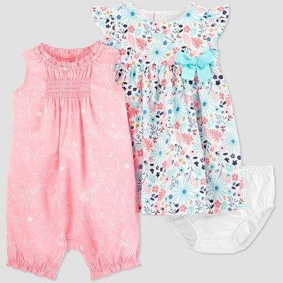 Baby Girls' Floral Dress Romper Set - Just One You® made by carter's Pink/Blue Newborn
