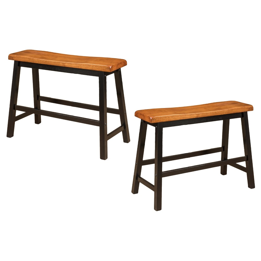 Pomeroy 24 Counter Height Dining Bench Wood/Walnut (Set of 2) - Christopher Knight Home