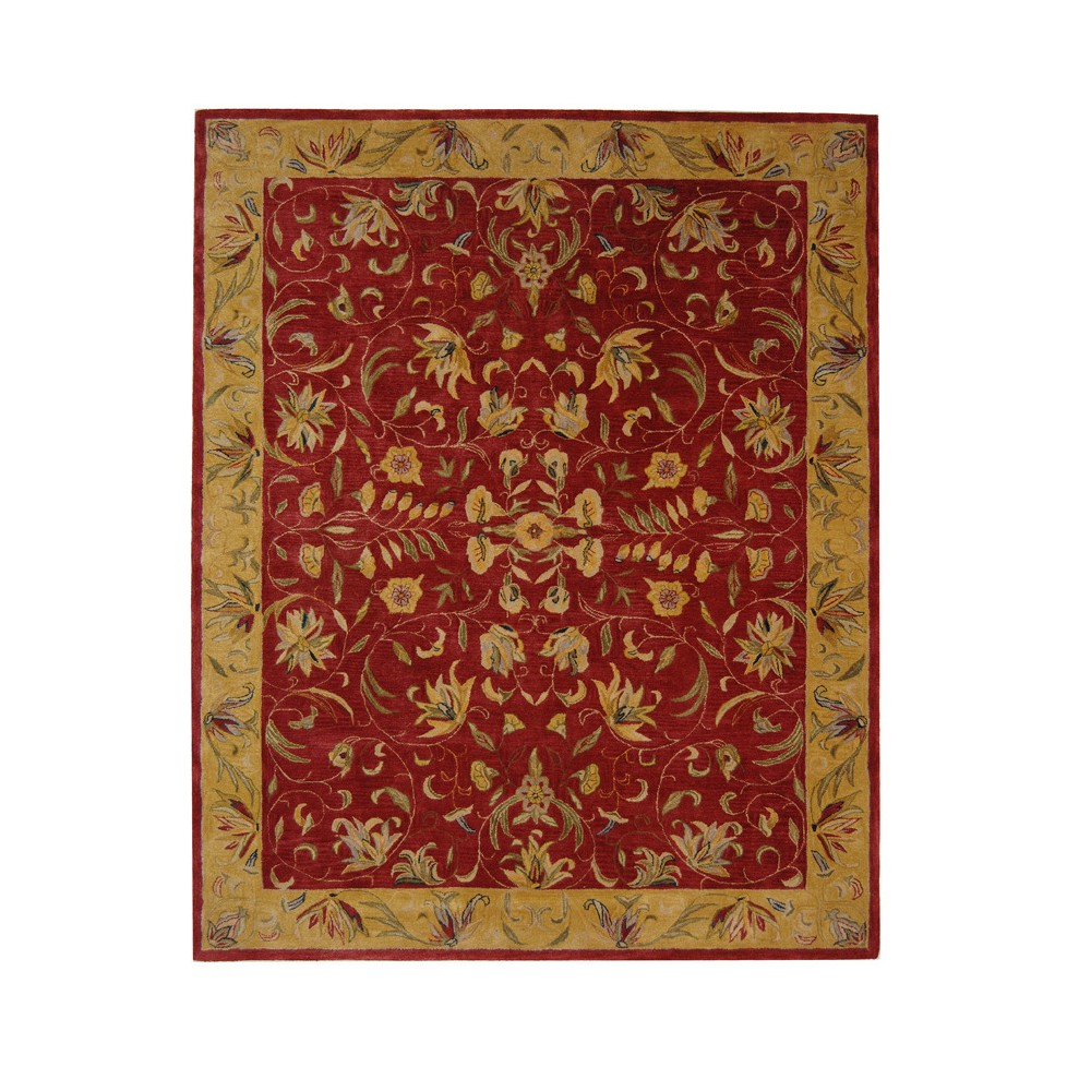 Burgundy/Gold Floral Tufted Area Rug 8'X10' - Safavieh, Gold Red