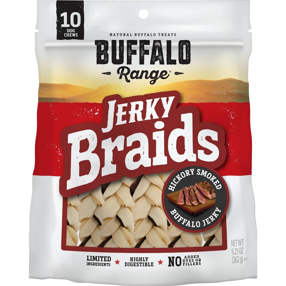 Buffalo Range Natural Jerky Braids Rawhide Chews For Dogs 10ct