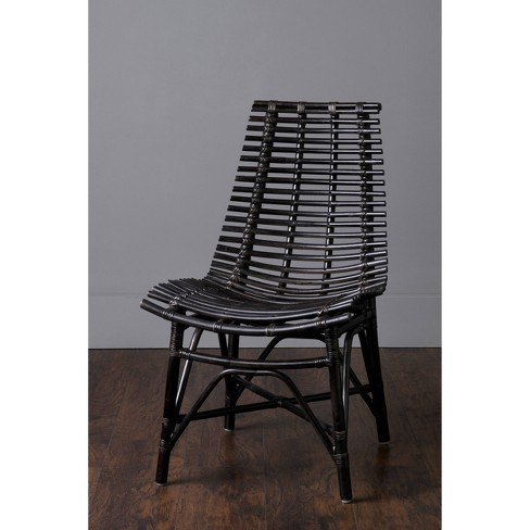 Chandler Rattan Square Dining Chair Antique Black - East at Main - image 1 of 4