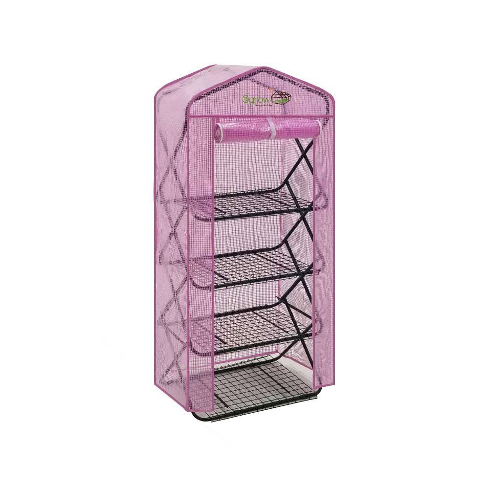 Image of 4 Tier Pop-Up Greenhouse with Lilac Premium PE Cover - OGrow