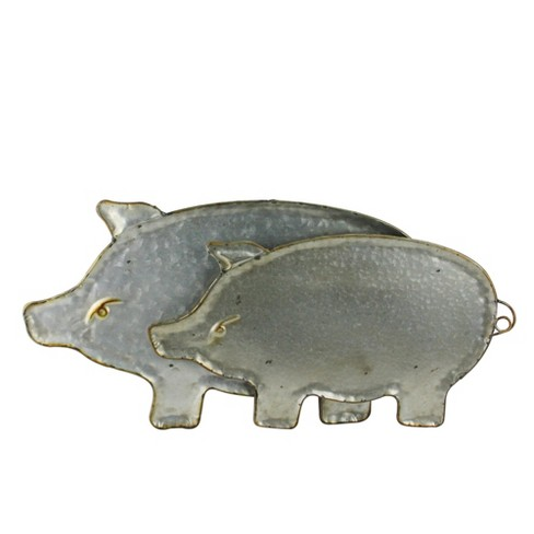 Melrose Set Of 2 Vintage Metal Curly Tailed Pig Serving Trays 20 Gray