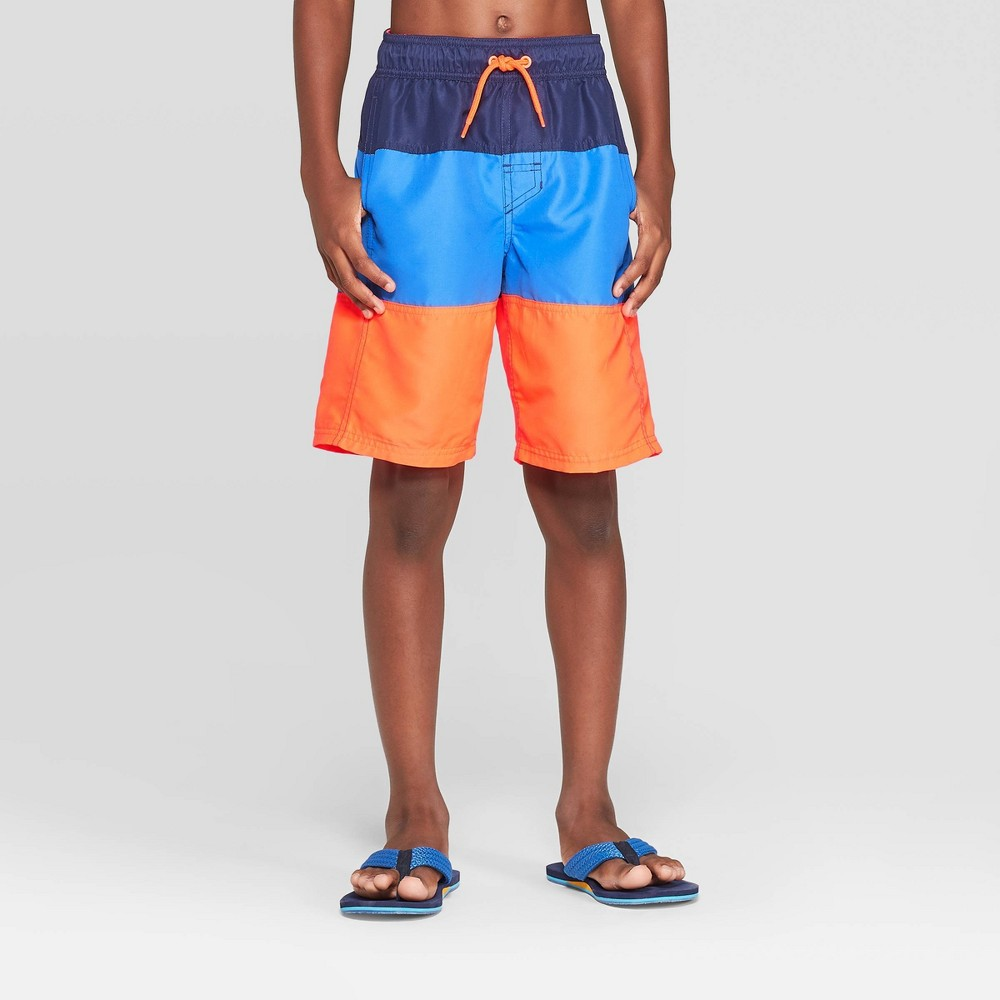 Image of Boys' Tiered Trunks Swim Trunks - Cat & Jack Blue/Orange M, Boy's, Size: Medium