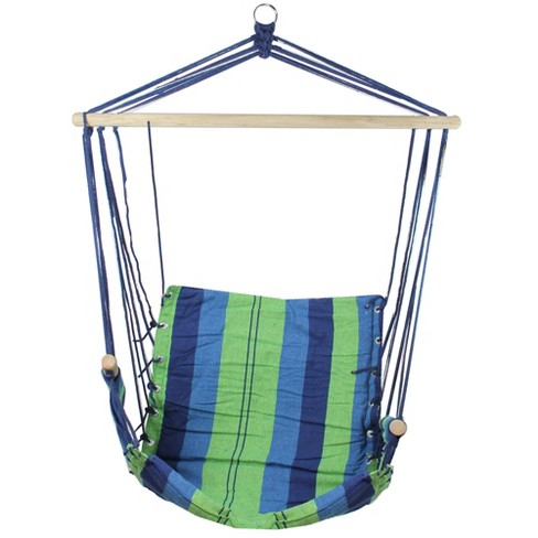 """Northlight 37"""" x 35"""" Striped Pattern Hammock Chair with Padding and Wooden Armrests - Green/Yellow - image 1 of 1"""