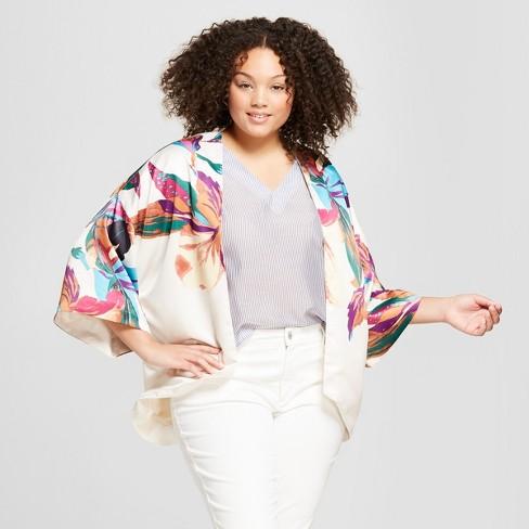 4be6e3f56b9 Women s Plus Size Floral Print Kimono - A New Day™ Stucco   Target
