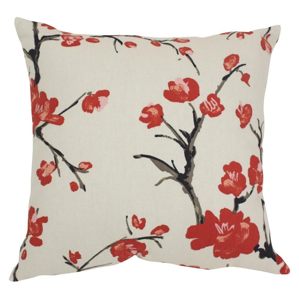 Beige Flowering Branch Throw Pillow 18 X18 Pillow Perfect