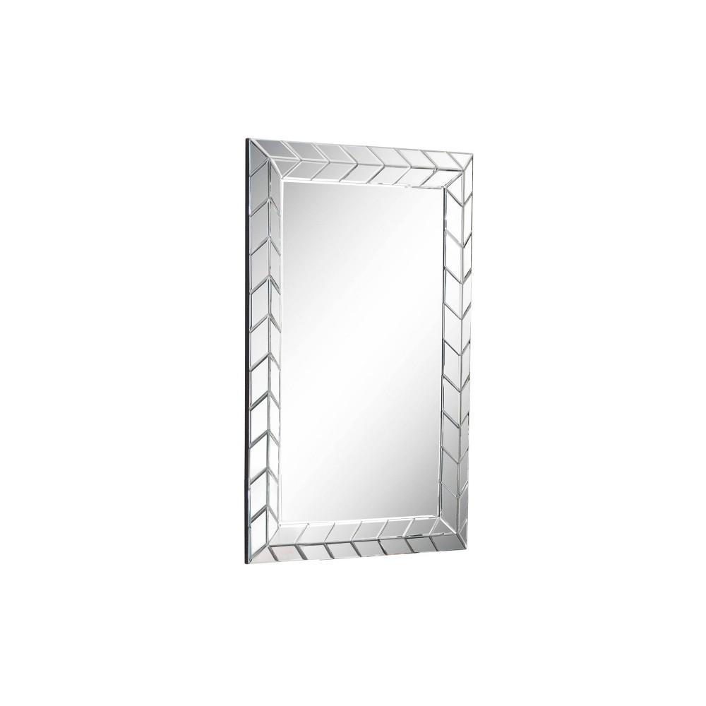 "Image of Abbyson Living 34""x23"" Teresa Chevron Rectangle Wall Mirror Silver"