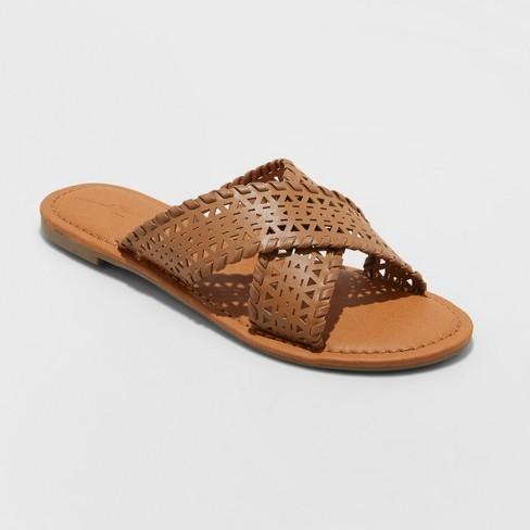 5b8d461056e Women's Willow Laser Cut Crossband Slide Sandals - Universal Thread™ Cognac  5.5