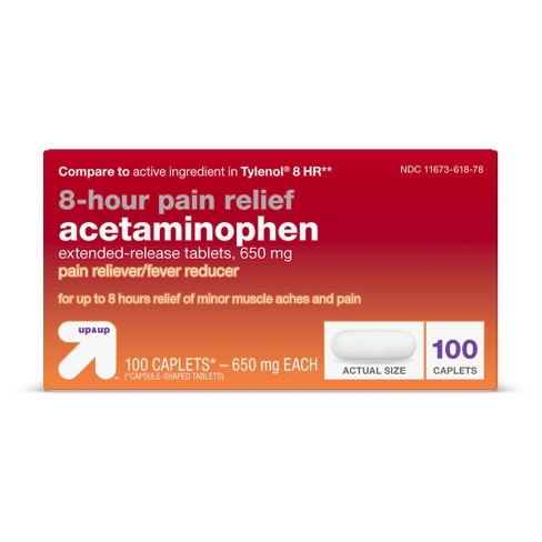 Acetaminophen 8hr Pain Reliever & Fever Reducer Extended Release Caplets - 100ct - Up&Up™ - image 1 of 4