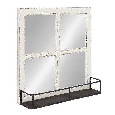 Kate & Laurel 20.3 x20.3  Jackson Distressed Wood Windowpane Decorative wall Mirror with Metal Shelf Natural