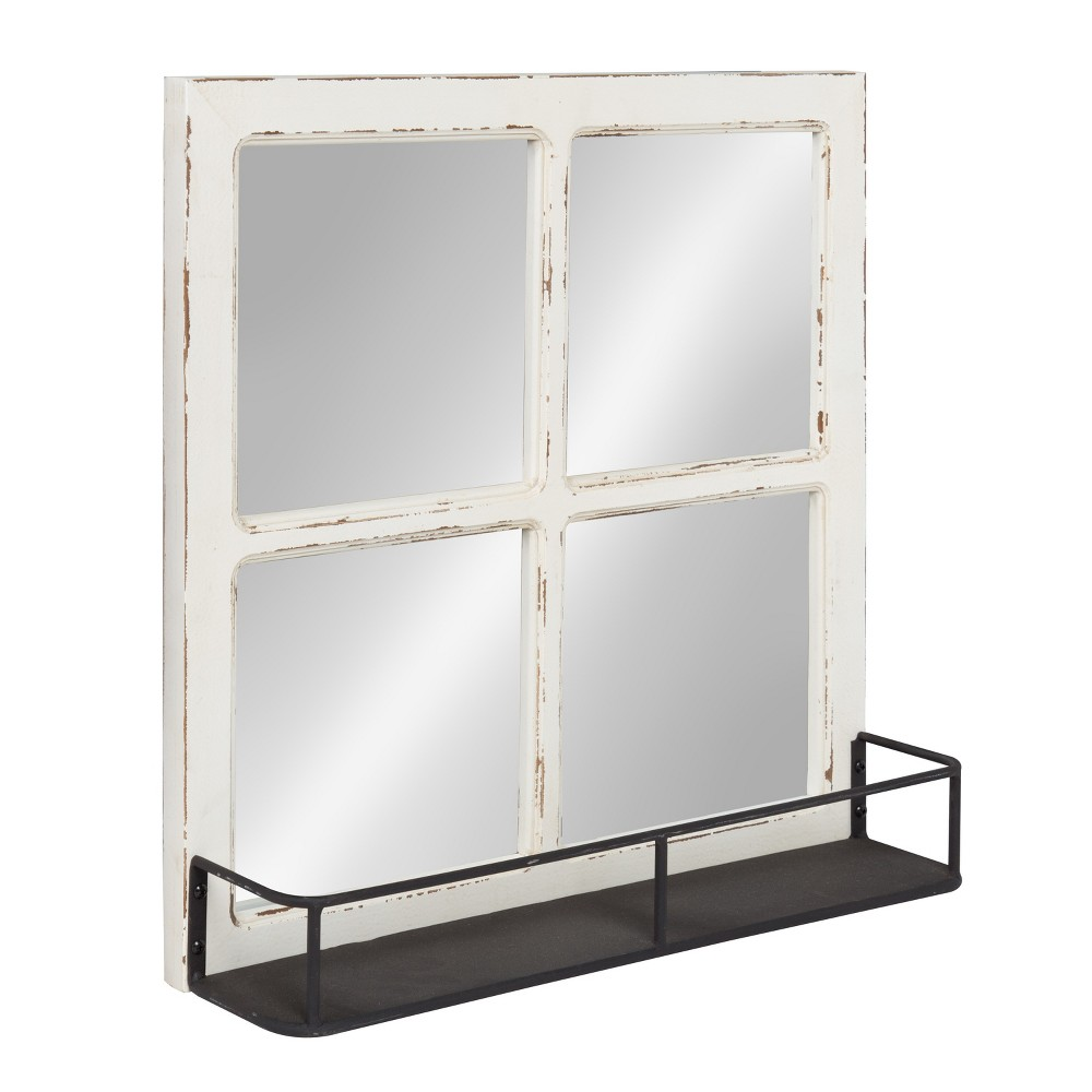 "Image of ""Kate & Laurel 20.3""""x20.3"""" Jackson Distressed Wood Windowpane Decorative wall Mirror with Metal Shelf Natural"""