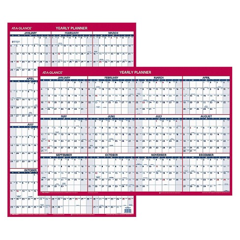 AT-A-GLANCE® Erasable Vertical/Horizontal Wall Planner 24 x 36 Blue/Red 2018 - image 1 of 1