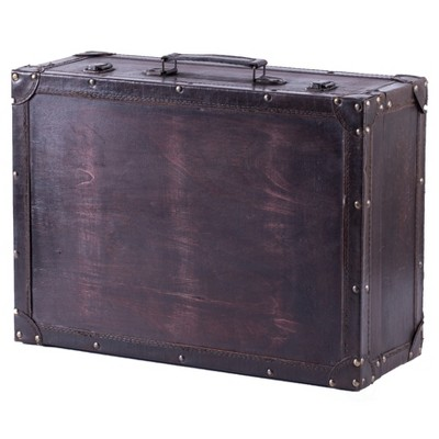 Vintiquewise Vintage Style Brown Wooden Suitcase with Leather Trim