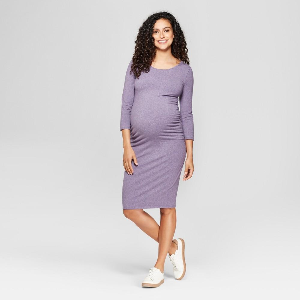 Maternity 3/4 Sleeve Shirred T-Shirt Dress - Isabel Maternity by Ingrid & Isabel Lavender Heather Xxl, Women's