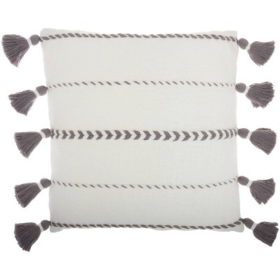 """20""""x20"""" Oversize Life Styles Braided Striped Square Throw Pillow with Tassels - Mina Victory"""