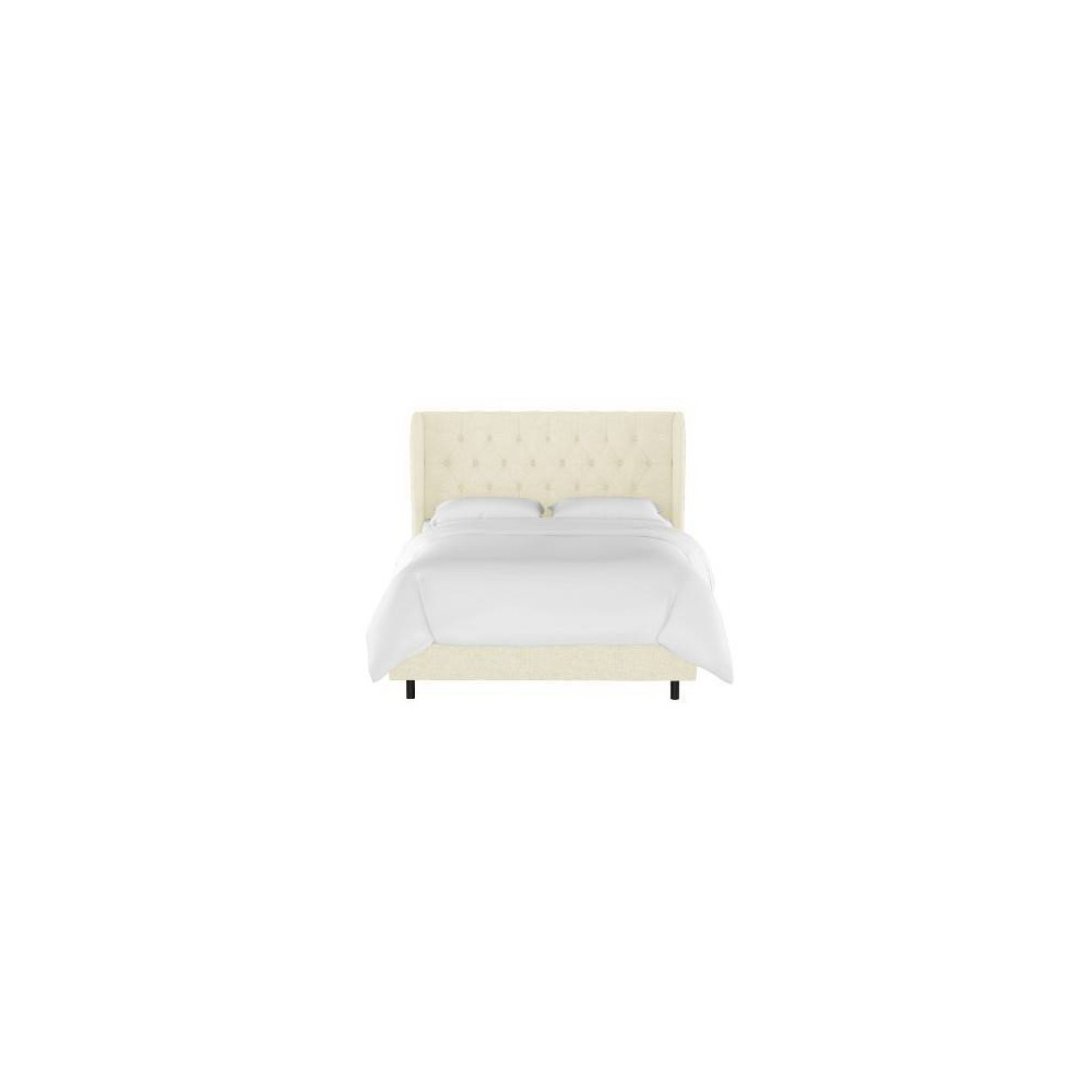 Queen Tufted Wingback Bed Cream Linen - Threshold
