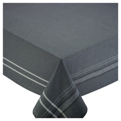 Design Imports 84 X60  French Chambray Tablecloth Gray