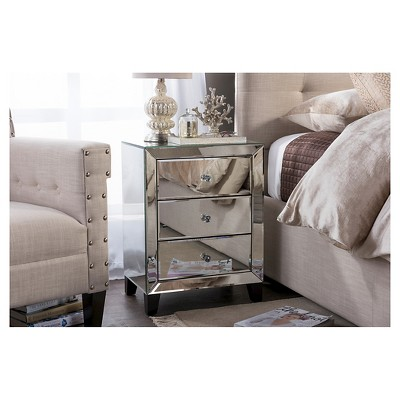 Chevron Modern And Contemporary Hollywood Regency Glamour Style Mirrored 3 - Drawers Nightstand Bedside Table - Baxton Studio : Target