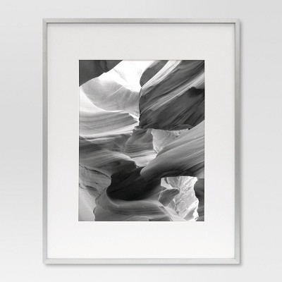 """11"""" x 14"""" Metal Single Picture Frame with Acid-Free Mat Brushed Silver - Project 62™"""