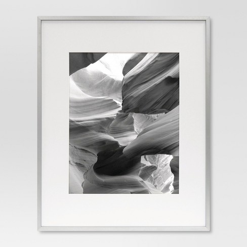 Metal Single Image Frame With Acid Free Mat 11x14 Brushed Silver
