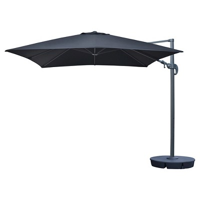Island Umbrella Santorini II 10' Square Cantilever Umbrella in Black Sunbrella