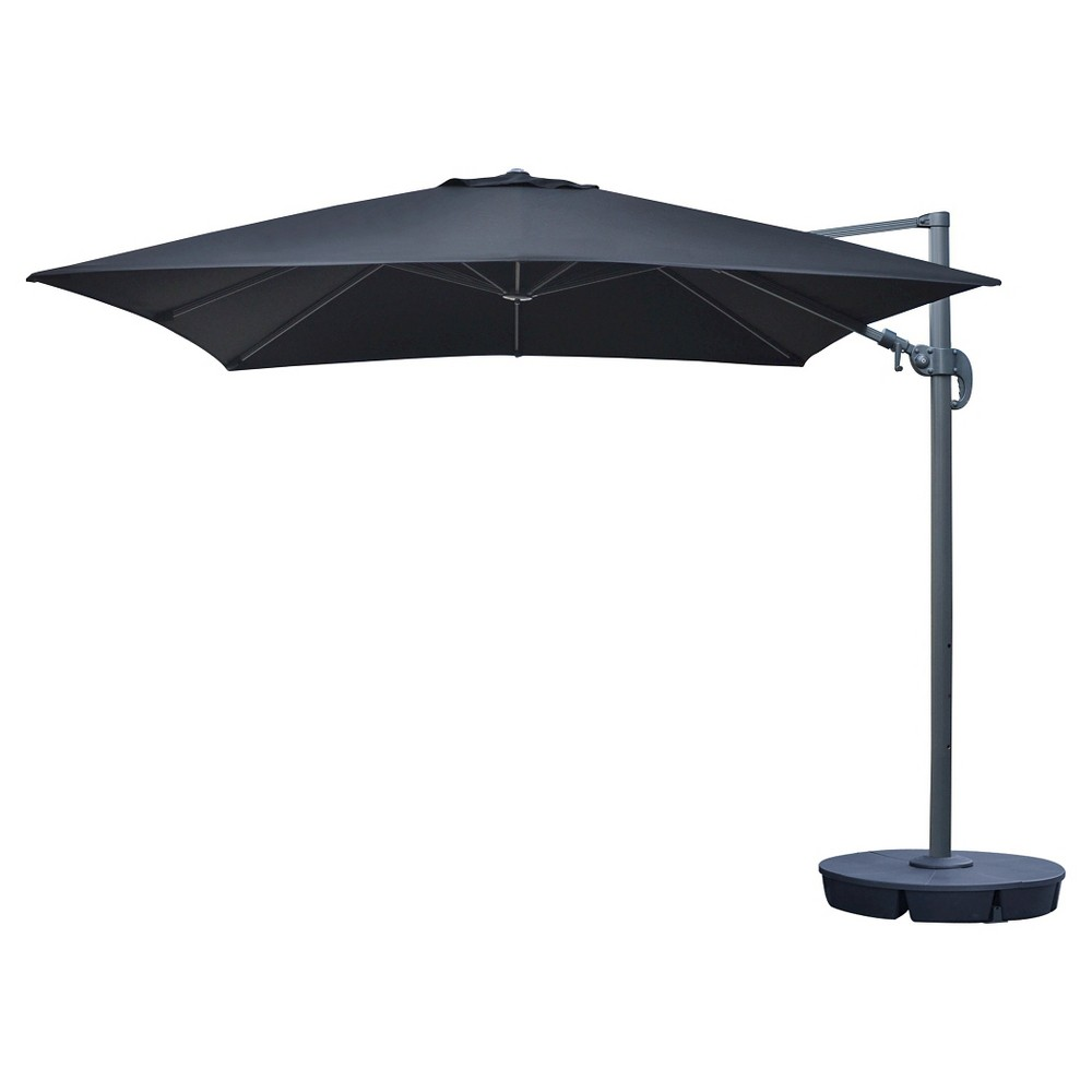 Image of Island Umbrella Santorini II 10' Square Cantilever Umbrella in Black Sunbrella