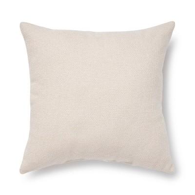 "18""x18"" Tweed Square Throw Pillow Cream"