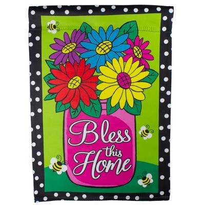 "Northlight Bless this Home Bouquet with Vase Outdoor Garden Flag 12.5"" x 18"""